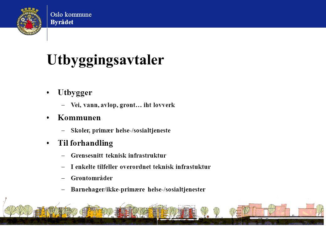 Oslo kommune Byrådet Utbyggingsavtaler Utbygger –Vei, vann, avløp, grønt… iht lovverk Kommunen –Skoler, primær helse-/sosialtjeneste Til forhandling –