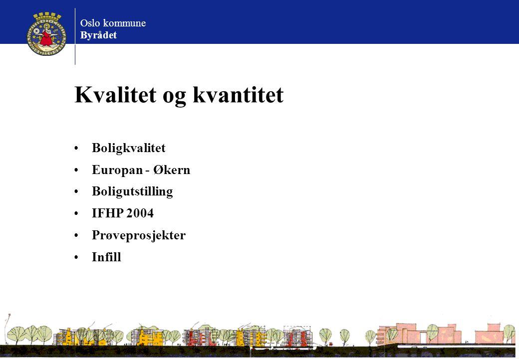 Oslo kommune Byrådet Kvalitet og kvantitet Boligkvalitet Europan - Økern Boligutstilling IFHP 2004 Prøveprosjekter Infill