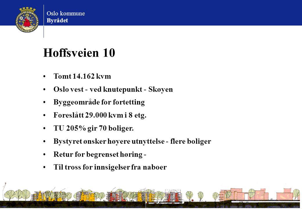 Oslo kommune Byrådet Hoffsveien 10 Tomt 14.162 kvm Oslo vest - ved knutepunkt - Skøyen Byggeområde for fortetting Foreslått 29.000 kvm i 8 etg. TU 205