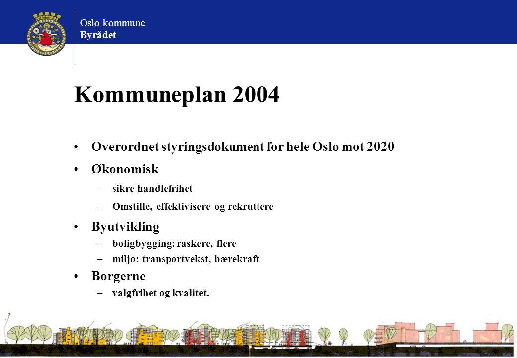 Oslo kommune Byrådet Kommuneplan 2004 Overordnet styringsdokument for hele Oslo mot 2020 Økonomisk –sikre handlefrihet –Omstille, effektivisere og rek