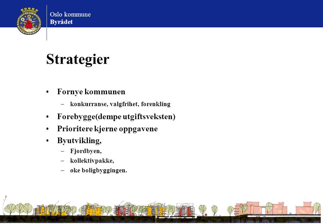 Oslo kommune Byrådet Strategier Fornye kommunen –konkurranse, valgfrihet, forenkling Forebygge(dempe utgiftsveksten) Prioritere kjerne oppgavene Byutv