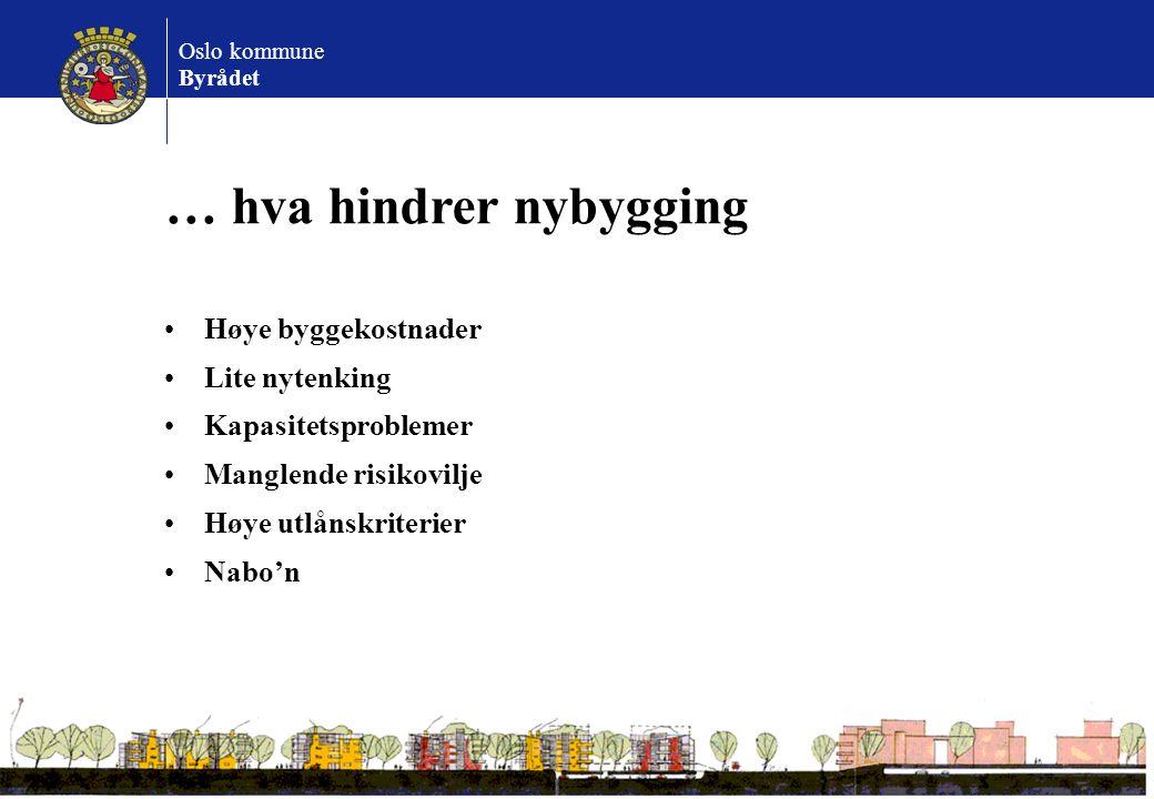 Oslo kommune Byrådet … hva hindrer nybygging Høye byggekostnader Lite nytenking Kapasitetsproblemer Manglende risikovilje Høye utlånskriterier Nabo'n