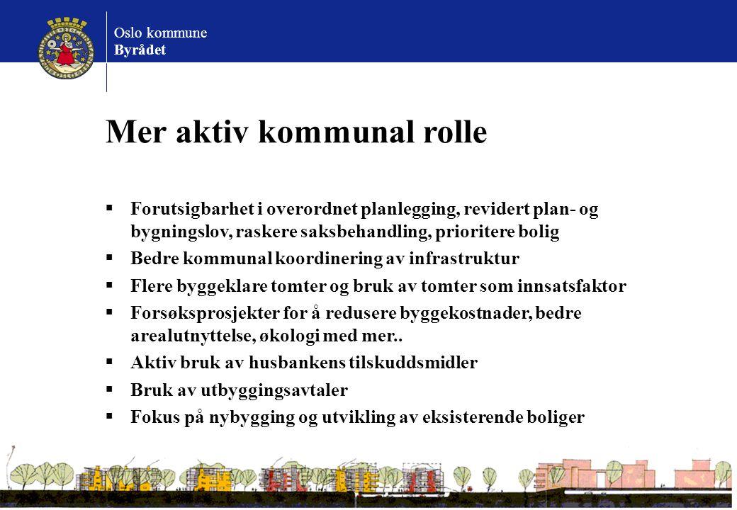 Oslo kommune Byrådet Mer aktiv kommunal rolle  Forutsigbarhet i overordnet planlegging, revidert plan- og bygningslov, raskere saksbehandling, priori
