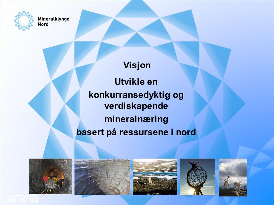 Hovedmål for Mineralklynge Nord Mineralklynge Nord skal øke aktiviteten, verdiskapingen og sysselsettingen i mineralnæringen gjennom økt samarbeid, satsing på kunnskap og internasjonal orientering.