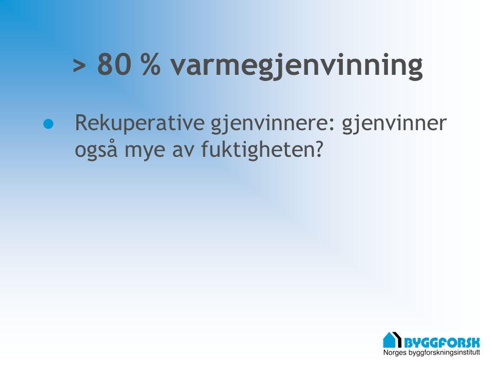 > 80 % varmegjenvinning Rekuperative gjenvinnere: gjenvinner også mye av fuktigheten?