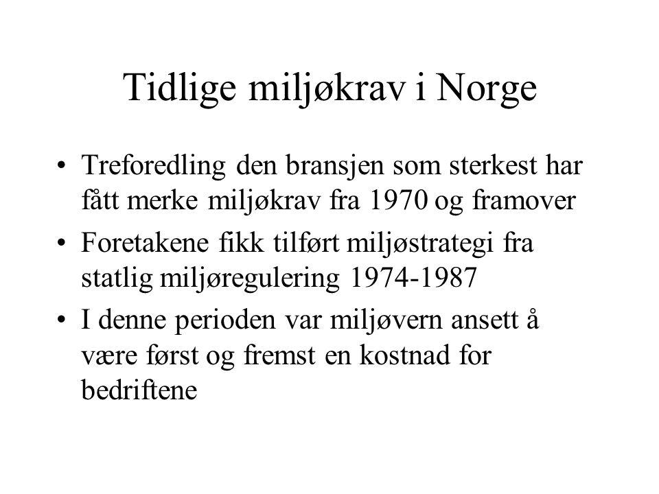 Tidlige miljøkrav i Norge Treforedling den bransjen som sterkest har fått merke miljøkrav fra 1970 og framover Foretakene fikk tilført miljøstrategi fra statlig miljøregulering 1974-1987 I denne perioden var miljøvern ansett å være først og fremst en kostnad for bedriftene