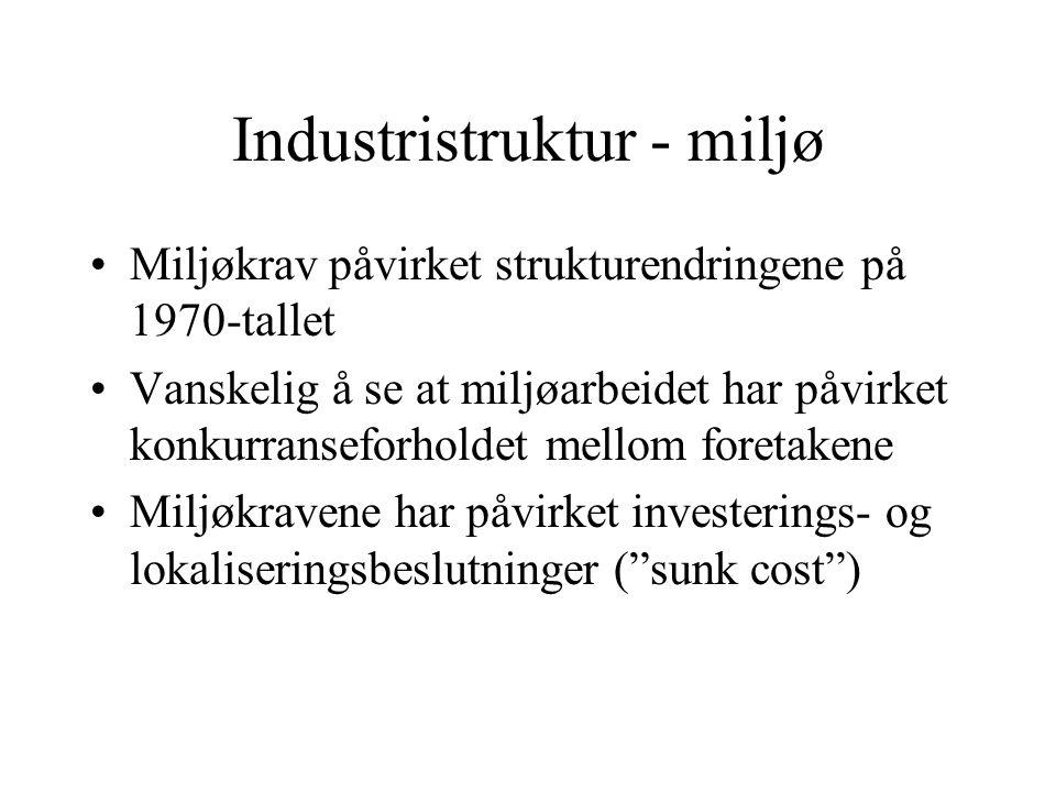 Industristruktur - miljø Miljøkrav påvirket strukturendringene på 1970-tallet Vanskelig å se at miljøarbeidet har påvirket konkurranseforholdet mellom foretakene Miljøkravene har påvirket investerings- og lokaliseringsbeslutninger ( sunk cost )