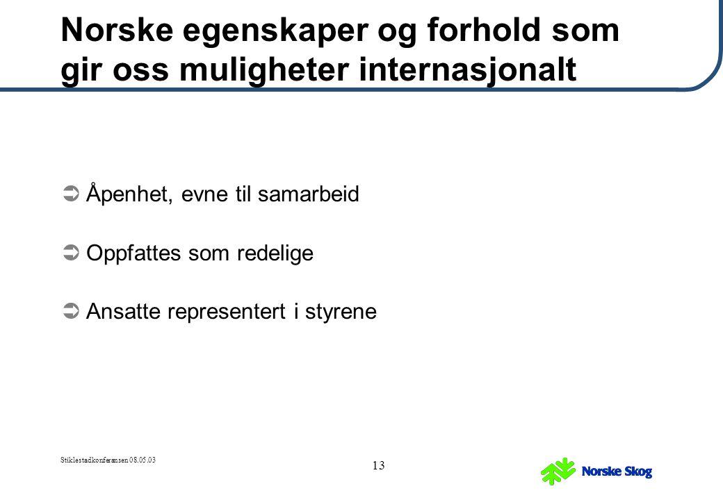 Stiklestadkonferansen 08.05.03 13 Norske egenskaper og forhold som gir oss muligheter internasjonalt  Åpenhet, evne til samarbeid  Oppfattes som red