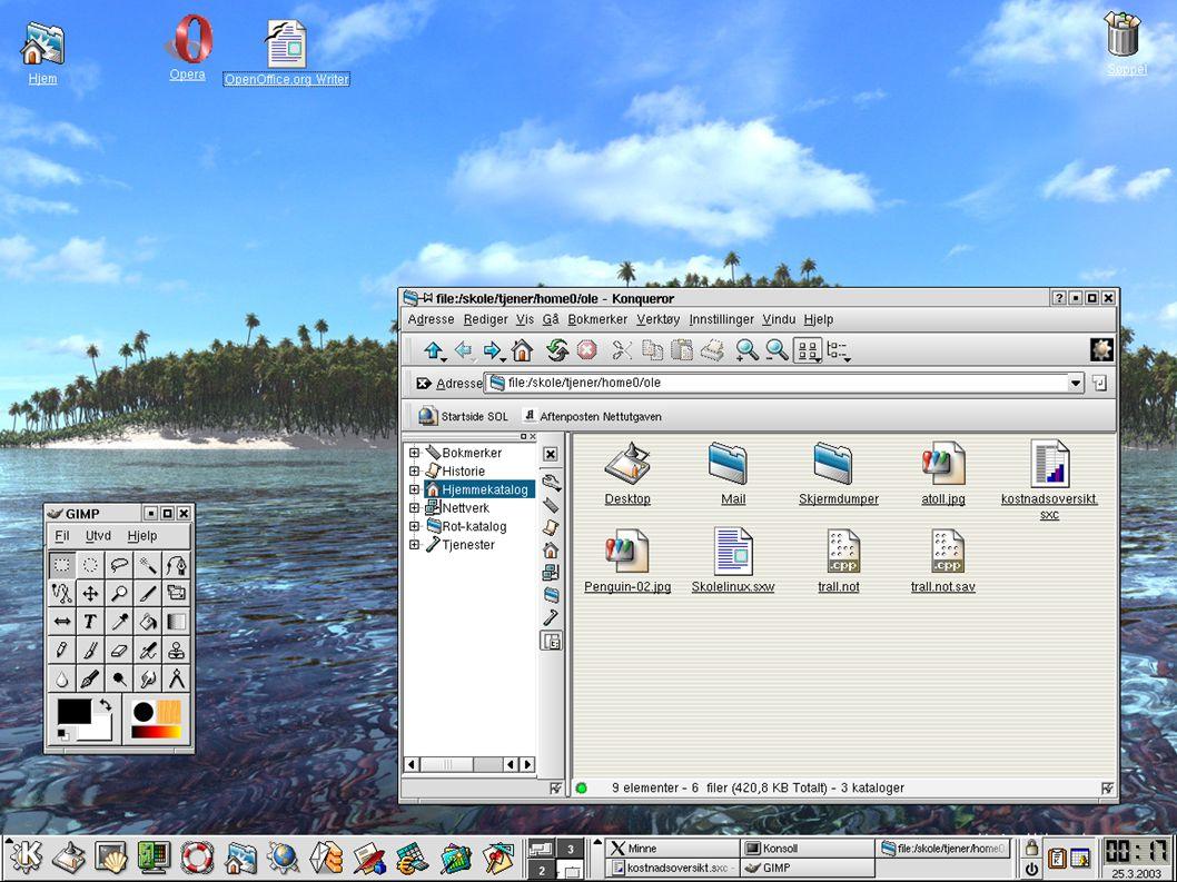 Bruker-programmer ✔ Skrivebordet ✔ Bruk av filbehandler ✔ Nettleser – Opera ✔ KMail ✔ Kontorprogrammer ✔ Grafikk-program ✔ Noen pedagogiske programmer Linux som arbeidsverktøy