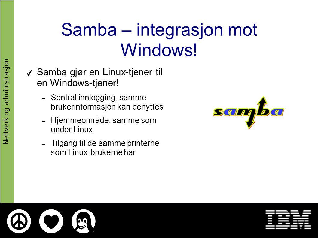Skolelinux representerer infrastruktur ✔ Katalogtjener (OpenLDAP) ✔ Epost (IMAP(S), POP(S), Webmail) ✔ Filtjener (NFS) ✔ Printer-tjener (Cups) ✔ Web-tjener (Apache) ✔ Mellomlager/proxy (Squid) ✔ Databasetjener (PostgreSQL) ✔ Terminalserver (LTSP) ✔ Nettverkstjenester, DHCP + DNS Nettverk og administrasjon