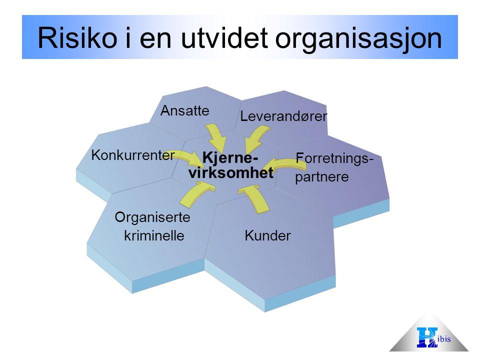 Risiko i en utvidet organisasjon Ansatte Leverandører Forretnings- partnere Kunder Organiserte kriminelle Konkurrenter Kjerne- virksomhet