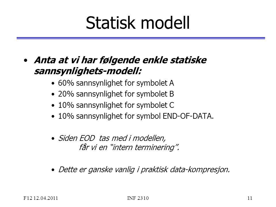 F12 12.04.2011INF 231011 Statisk modell Anta at vi har følgende enkle statiske sannsynlighets-modell: 60% sannsynlighet for symbolet A 20% sannsynligh