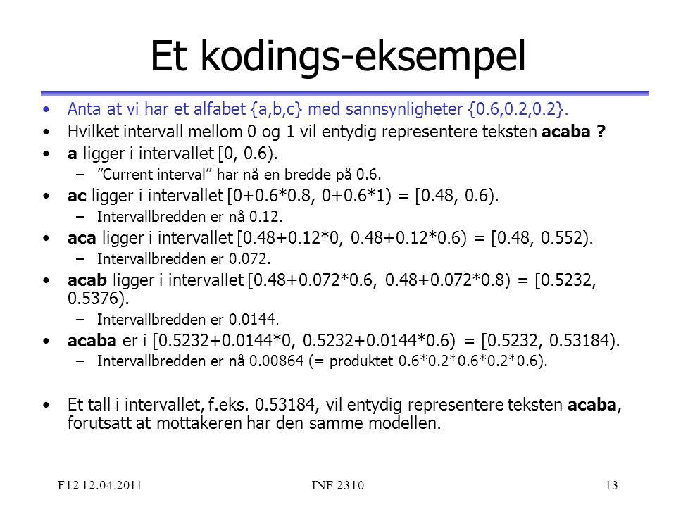F12 12.04.2011INF 231013 Et kodings-eksempel Anta at vi har et alfabet {a,b,c} med sannsynligheter {0.6,0.2,0.2}. Hvilket intervall mellom 0 og 1 vil