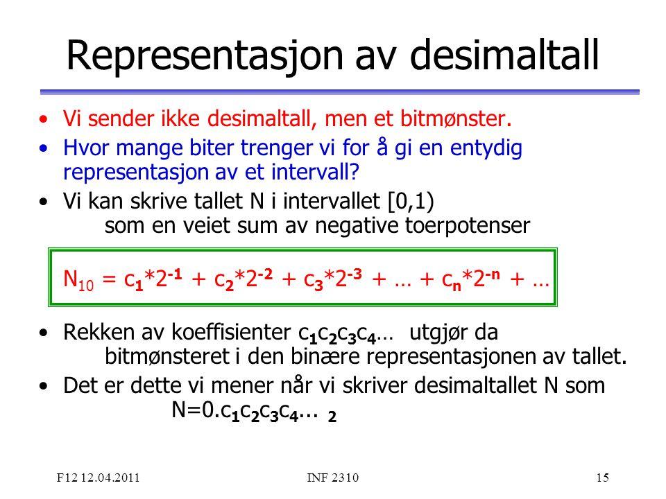 F12 12.04.2011INF 231015 Representasjon av desimaltall Vi sender ikke desimaltall, men et bitmønster. Hvor mange biter trenger vi for å gi en entydig