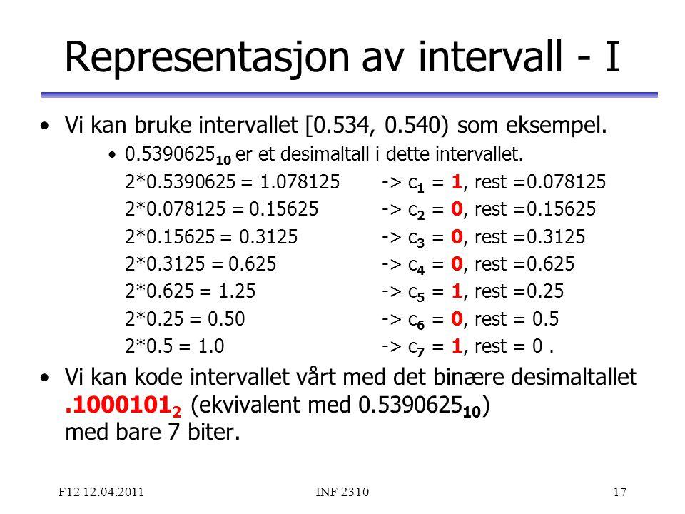 F12 12.04.2011INF 231017 Representasjon av intervall - I Vi kan bruke intervallet [0.534, 0.540) som eksempel. 0.5390625 10 er et desimaltall i dette