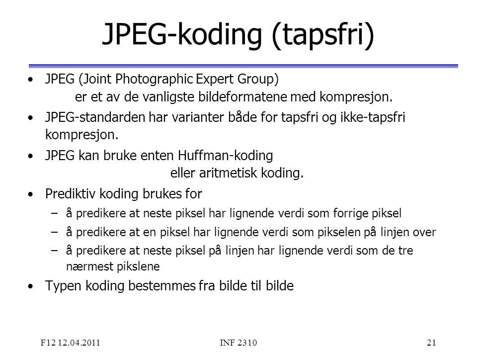 F12 12.04.2011INF 231021 JPEG-koding (tapsfri) JPEG (Joint Photographic Expert Group) er et av de vanligste bildeformatene med kompresjon. JPEG-standa