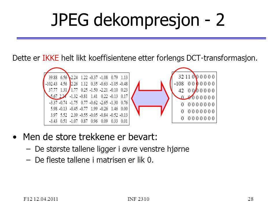 F12 12.04.2011INF 231028 JPEG dekompresjon - 2 Dette er IKKE helt likt koeffisientene etter forlengs DCT-transformasjon. Men de store trekkene er beva