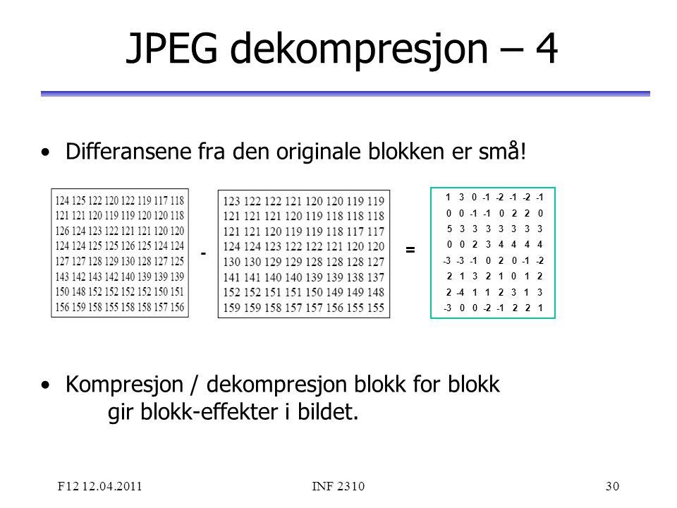 F12 12.04.2011INF 231030 JPEG dekompresjon – 4 Differansene fra den originale blokken er små! Kompresjon / dekompresjon blokk for blokk gir blokk-effe