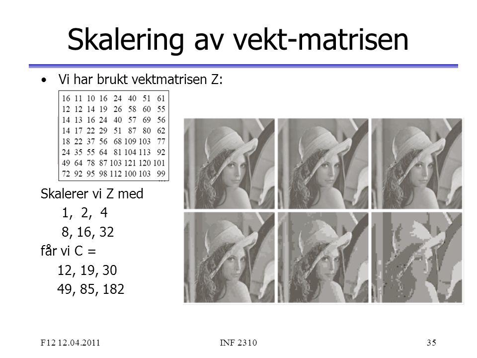 F12 12.04.2011INF 231035 Skalering av vekt-matrisen Vi har brukt vektmatrisen Z: Skalerer vi Z med 1, 2, 4 8, 16, 32 får vi C = 12, 19, 30 49, 85, 182