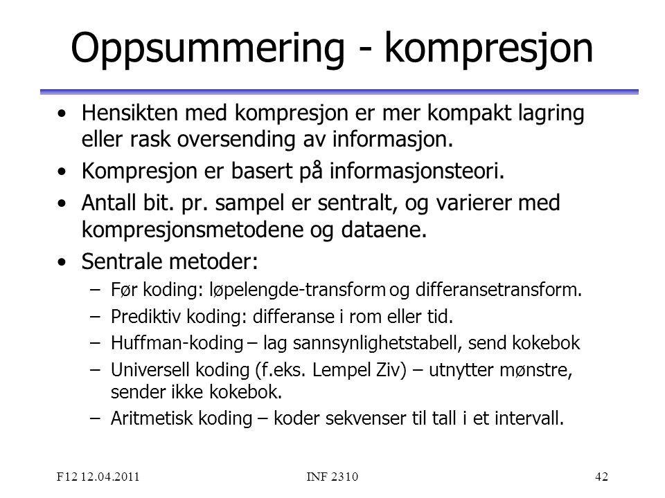 F12 12.04.2011INF 231042 Oppsummering - kompresjon Hensikten med kompresjon er mer kompakt lagring eller rask oversending av informasjon. Kompresjon e