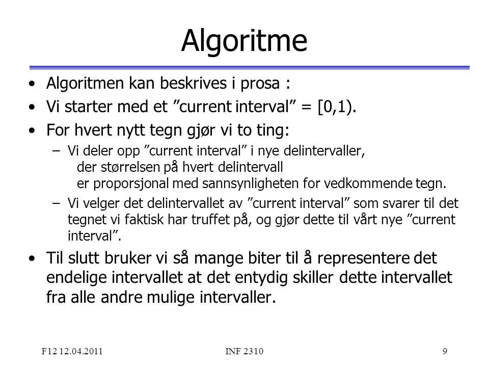 """F12 12.04.2011INF 23109 Algoritme Algoritmen kan beskrives i prosa : Vi starter med et """"current interval"""" = [0,1). For hvert nytt tegn gjør vi to ting"""