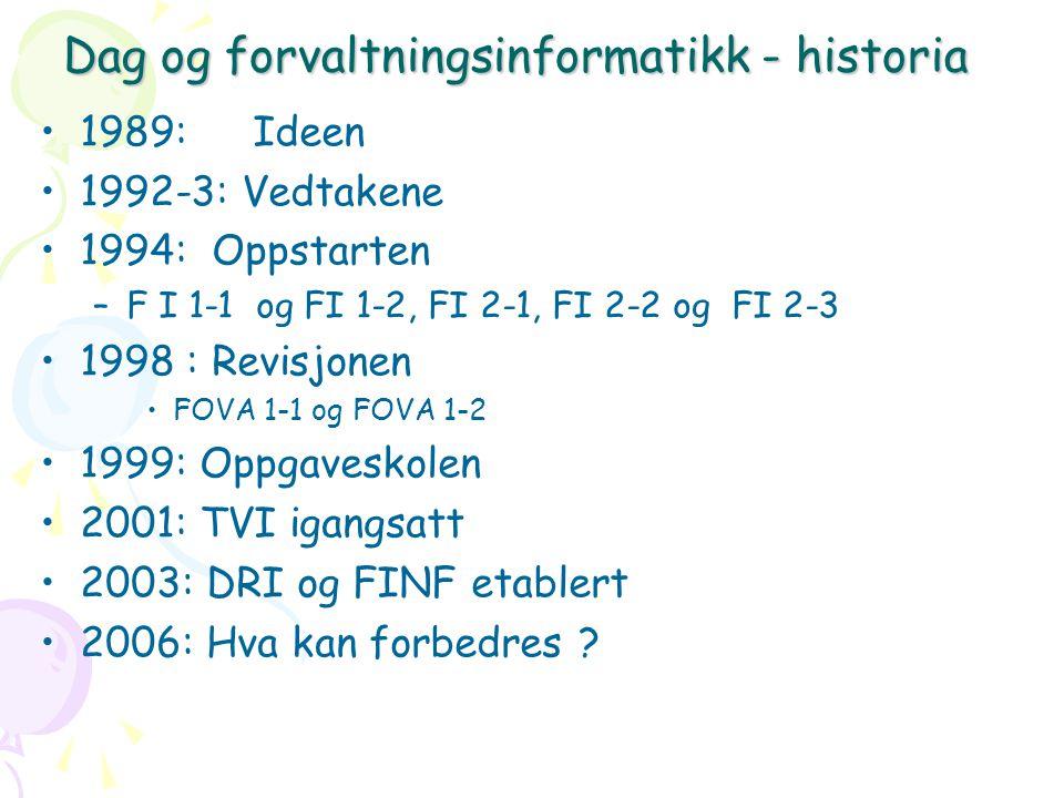 Dag og forvaltningsinformatikk - historia 1989: Ideen 1992-3: Vedtakene 1994: Oppstarten –F I 1-1 og FI 1-2, FI 2-1, FI 2-2 og FI 2-3 1998 : Revisjonen FOVA 1-1 og FOVA 1-2 1999: Oppgaveskolen 2001: TVI igangsatt 2003: DRI og FINF etablert 2006: Hva kan forbedres ?