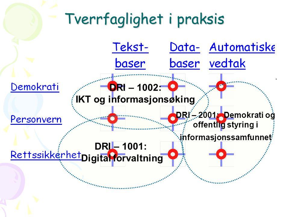 Tverrfaglighet i praksis DRI – 1001: Digital forvaltning DRI – 1002: IKT og informasjonsøking DRI – 2001: Demokrati og offentlig styring i informasjonssamfunnet