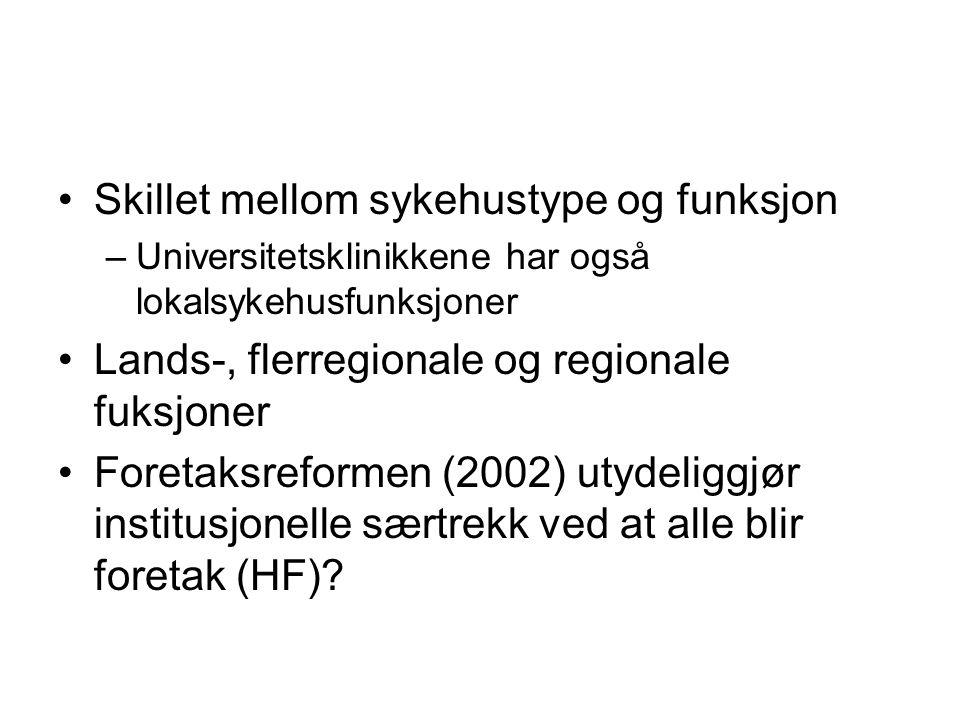 Skillet mellom sykehustype og funksjon –Universitetsklinikkene har også lokalsykehusfunksjoner Lands-, flerregionale og regionale fuksjoner Foretaksreformen (2002) utydeliggjør institusjonelle særtrekk ved at alle blir foretak (HF)?