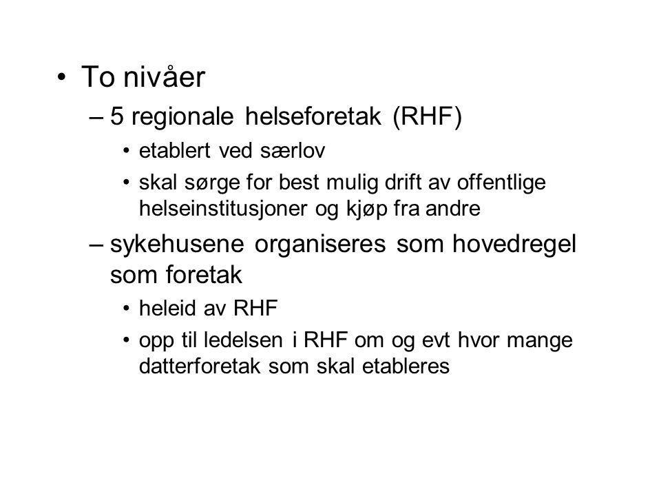 To nivåer –5 regionale helseforetak (RHF) etablert ved særlov skal sørge for best mulig drift av offentlige helseinstitusjoner og kjøp fra andre –sykehusene organiseres som hovedregel som foretak heleid av RHF opp til ledelsen i RHF om og evt hvor mange datterforetak som skal etableres
