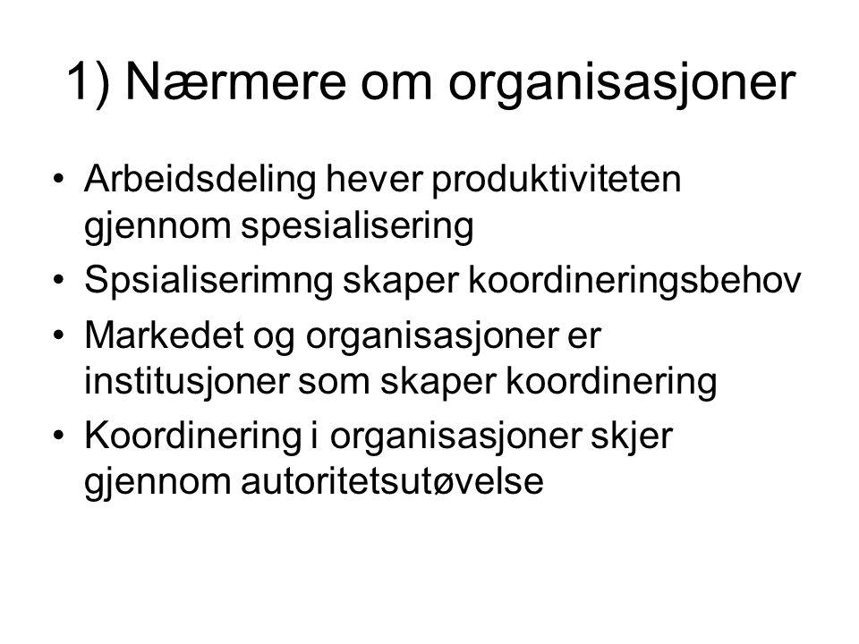 1) Nærmere om organisasjoner Arbeidsdeling hever produktiviteten gjennom spesialisering Spsialiserimng skaper koordineringsbehov Markedet og organisasjoner er institusjoner som skaper koordinering Koordinering i organisasjoner skjer gjennom autoritetsutøvelse
