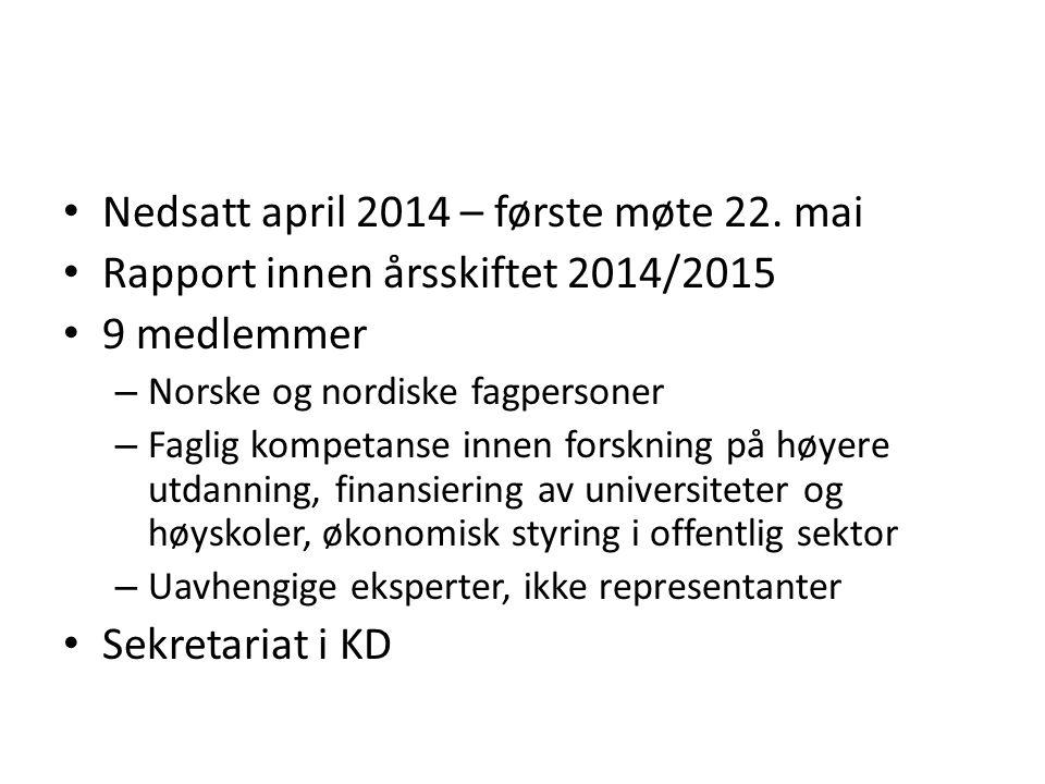 Nedsatt april 2014 – første møte 22.