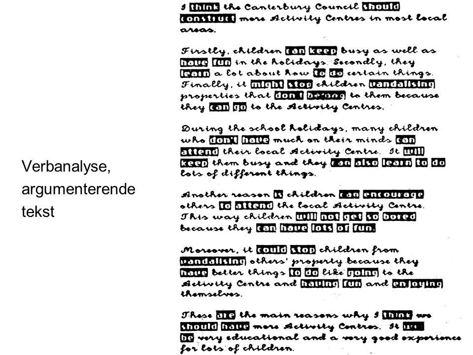 Frøydis Hertzberg, ILS Verbanalyse, argumenterende tekst