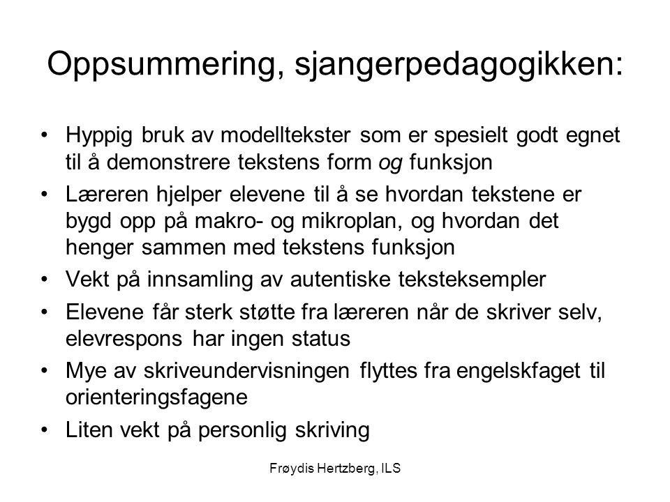 Frøydis Hertzberg, ILS Oppsummering, sjangerpedagogikken: Hyppig bruk av modelltekster som er spesielt godt egnet til å demonstrere tekstens form og f