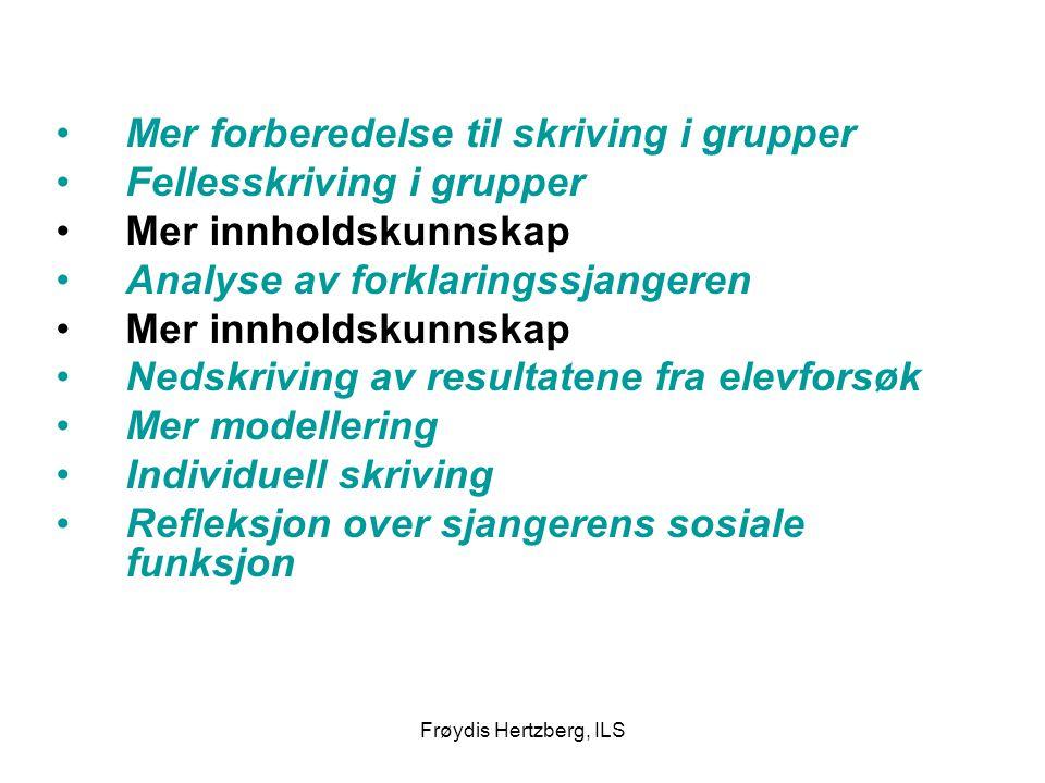 Frøydis Hertzberg, ILS Mer forberedelse til skriving i grupper Fellesskriving i grupper Mer innholdskunnskap Analyse av forklaringssjangeren Mer innho
