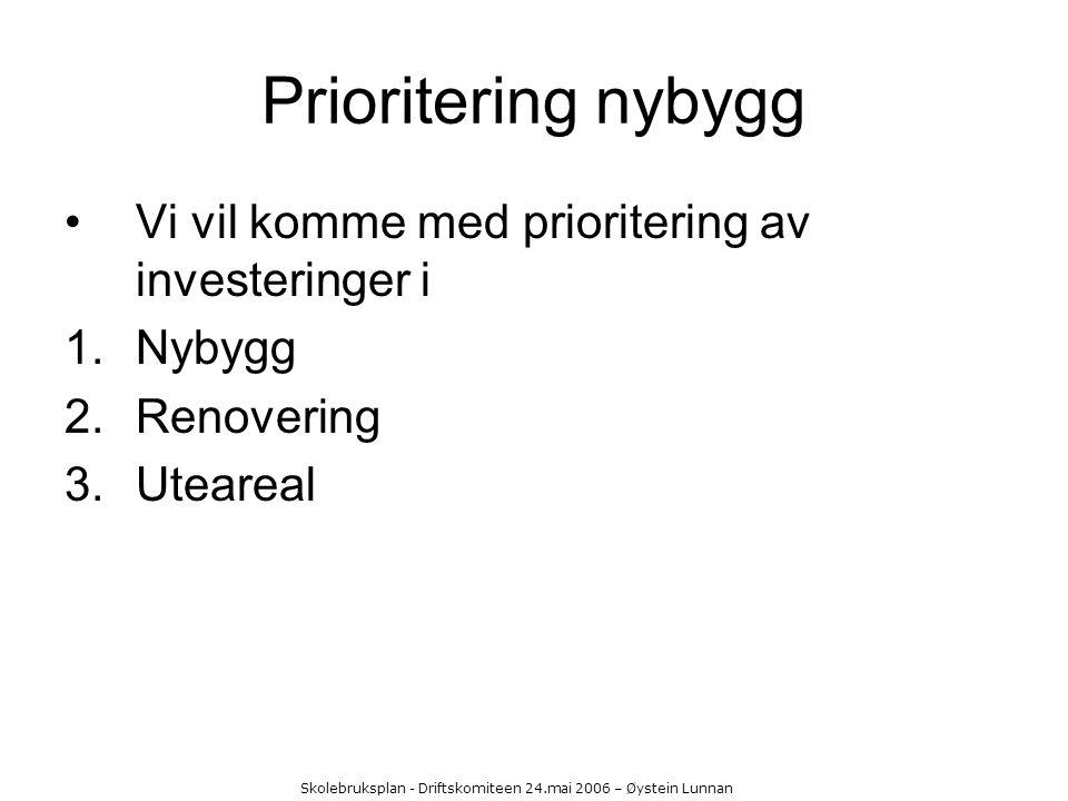 Skolebruksplan - Driftskomiteen 24.mai 2006 – Øystein Lunnan Prioritering nybygg Vi vil komme med prioritering av investeringer i 1.Nybygg 2.Renoverin