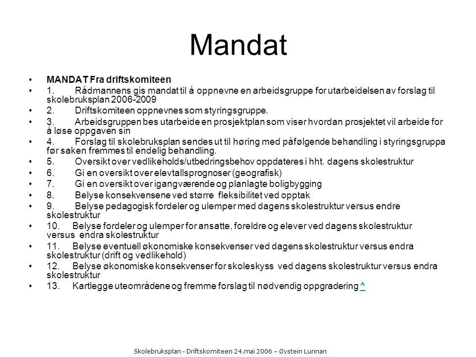 Skolebruksplan - Driftskomiteen 24.mai 2006 – Øystein Lunnan Mandat MANDAT Fra driftskomiteen 1. Rådmannens gis mandat til å oppnevne en arbeidsgruppe