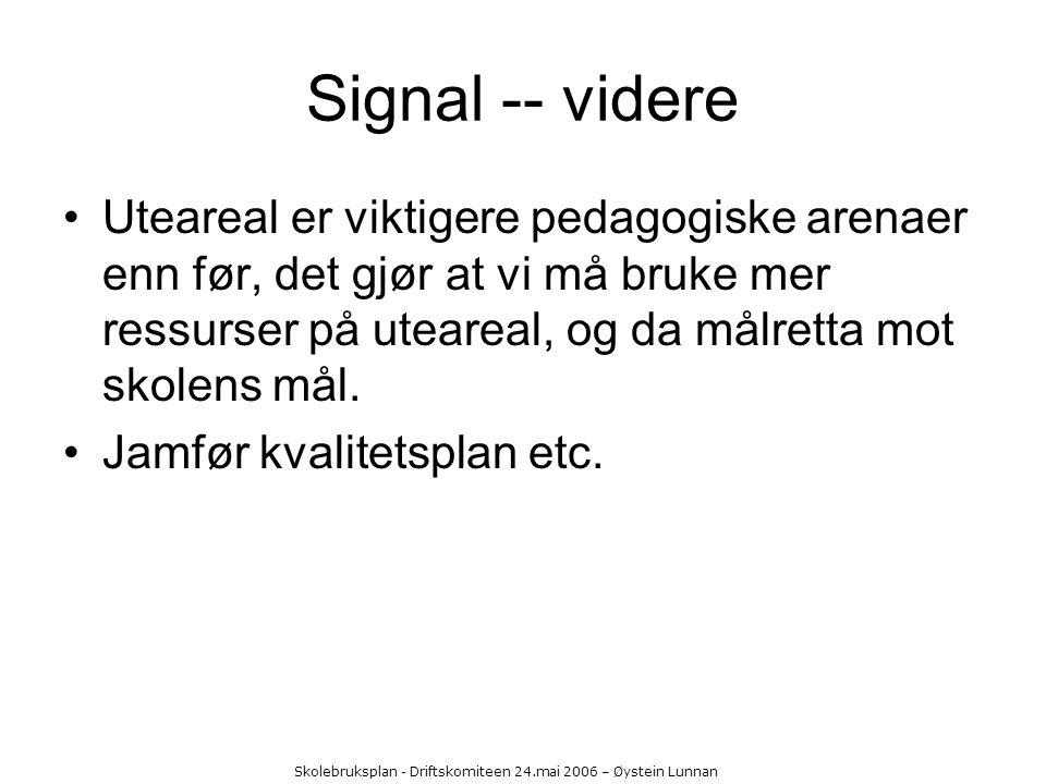 Skolebruksplan - Driftskomiteen 24.mai 2006 – Øystein Lunnan Signal -- videre Uteareal er viktigere pedagogiske arenaer enn før, det gjør at vi må bru