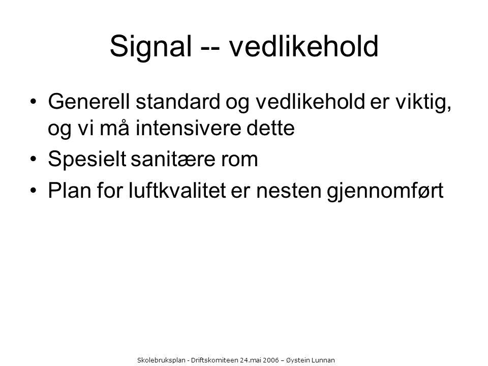 Skolebruksplan - Driftskomiteen 24.mai 2006 – Øystein Lunnan Signal -- vedlikehold Generell standard og vedlikehold er viktig, og vi må intensivere de