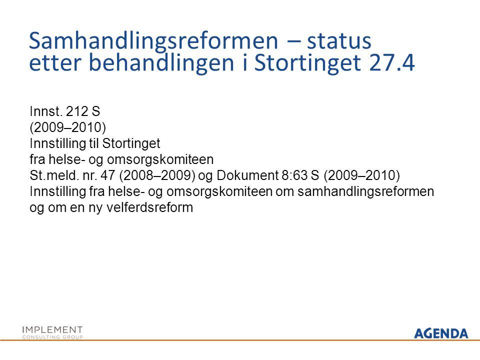 Samhandlingsreformen – status etter behandlingen i Stortinget 27.4 Innst. 212 S (2009–2010) Innstilling til Stortinget fra helse- og omsorgskomiteen S