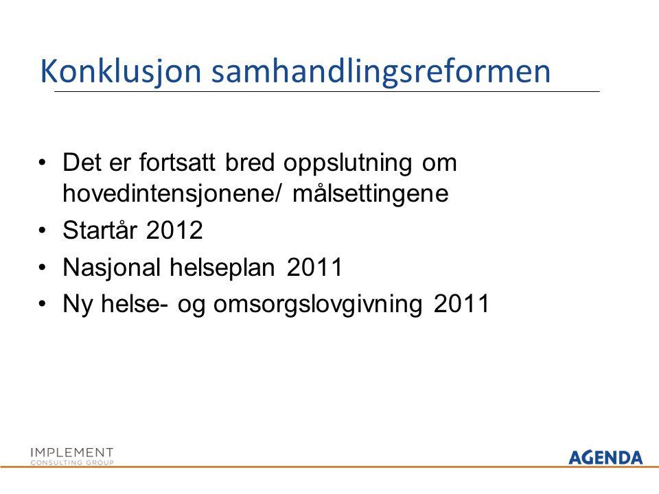 Konklusjon samhandlingsreformen Det er fortsatt bred oppslutning om hovedintensjonene/ målsettingene Startår 2012 Nasjonal helseplan 2011 Ny helse- og