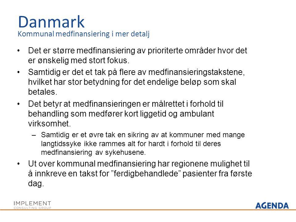 Danmark Kommunal medfinansiering i mer detalj Det er større medfinansiering av prioriterte områder hvor det er ønskelig med stort fokus. Samtidig er d