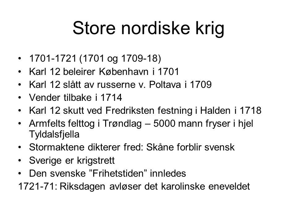 Store nordiske krig 1701-1721 (1701 og 1709-18) Karl 12 beleirer København i 1701 Karl 12 slått av russerne v. Poltava i 1709 Vender tilbake i 1714 Ka