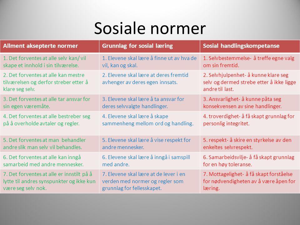Sosiale normer Allment aksepterte normerGrunnlag for sosial læringSosial handlingskompetanse 1. Det forventes at alle selv kan/ vil skape et innhold i