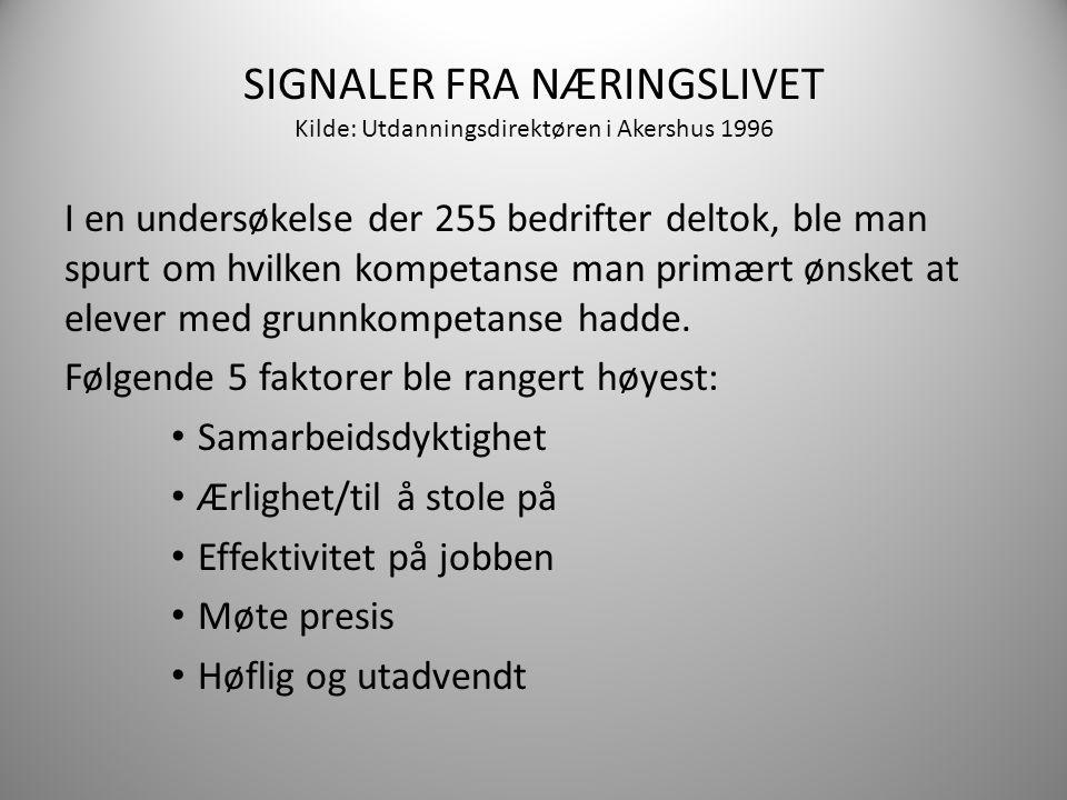 SIGNALER FRA NÆRINGSLIVET Kilde: Utdanningsdirektøren i Akershus 1996 I en undersøkelse der 255 bedrifter deltok, ble man spurt om hvilken kompetanse man primært ønsket at elever med grunnkompetanse hadde.