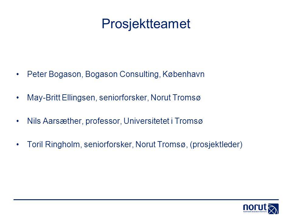 Prosjektteamet Peter Bogason, Bogason Consulting, København May-Britt Ellingsen, seniorforsker, Norut Tromsø Nils Aarsæther, professor, Universitetet