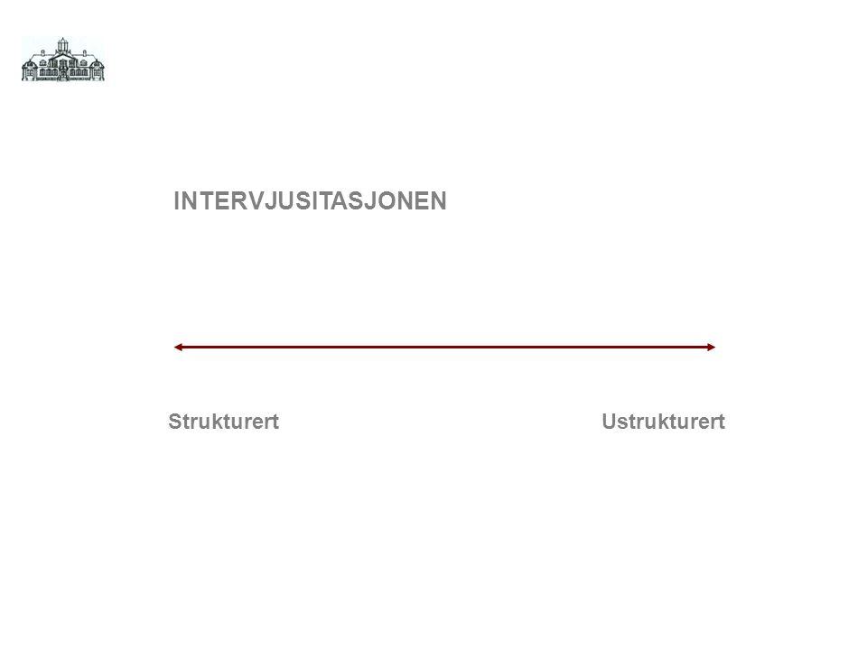 StrukturertUstrukturert INTERVJUSITASJONEN