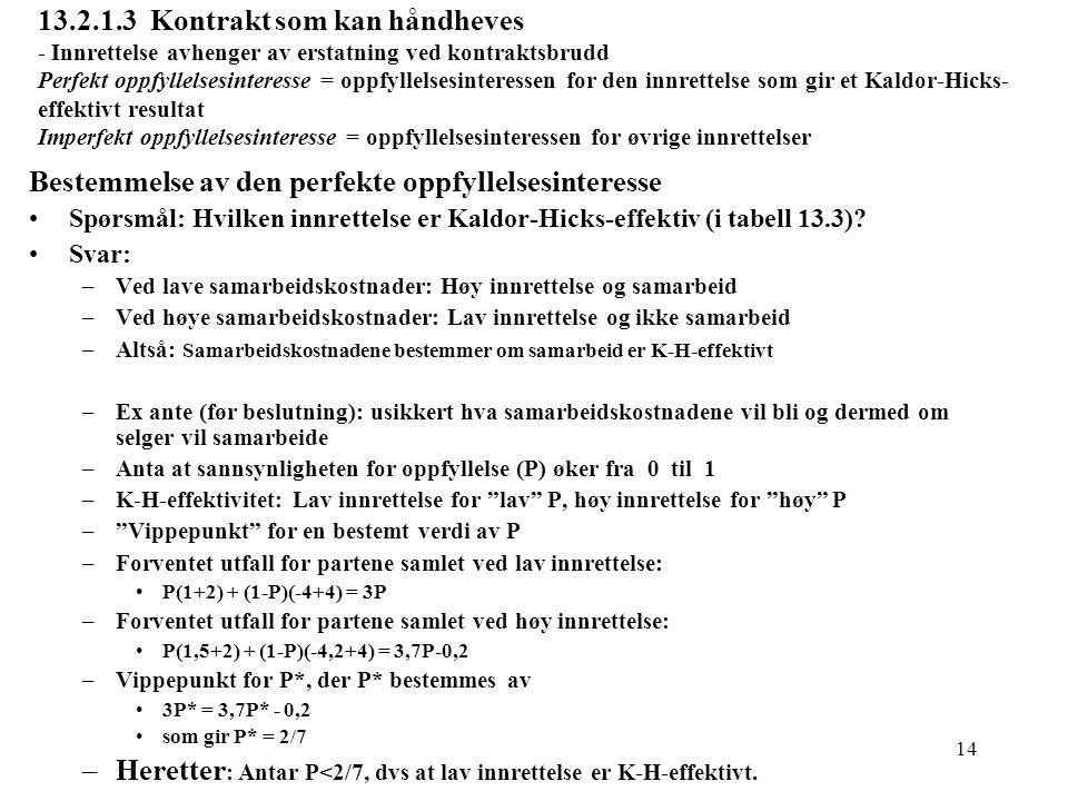 14 13.2.1.3 Kontrakt som kan håndheves - Innrettelse avhenger av erstatning ved kontraktsbrudd Perfekt oppfyllelsesinteresse = oppfyllelsesinteressen