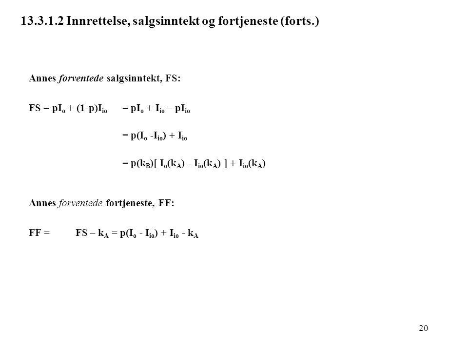 20 13.3.1.2 Innrettelse, salgsinntekt og fortjeneste (forts.) Annes forventede salgsinntekt, FS: FS = pI o + (1-p)I io = pI o + I io – pI io = p(I o -
