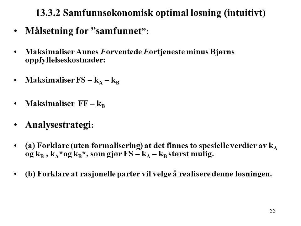 "22 13.3.2 Samfunnsøkonomisk optimal løsning (intuitivt) Målsetning for ""samfunnet "": Maksimaliser Annes Forventede Fortjeneste minus Bjørns oppfyllels"