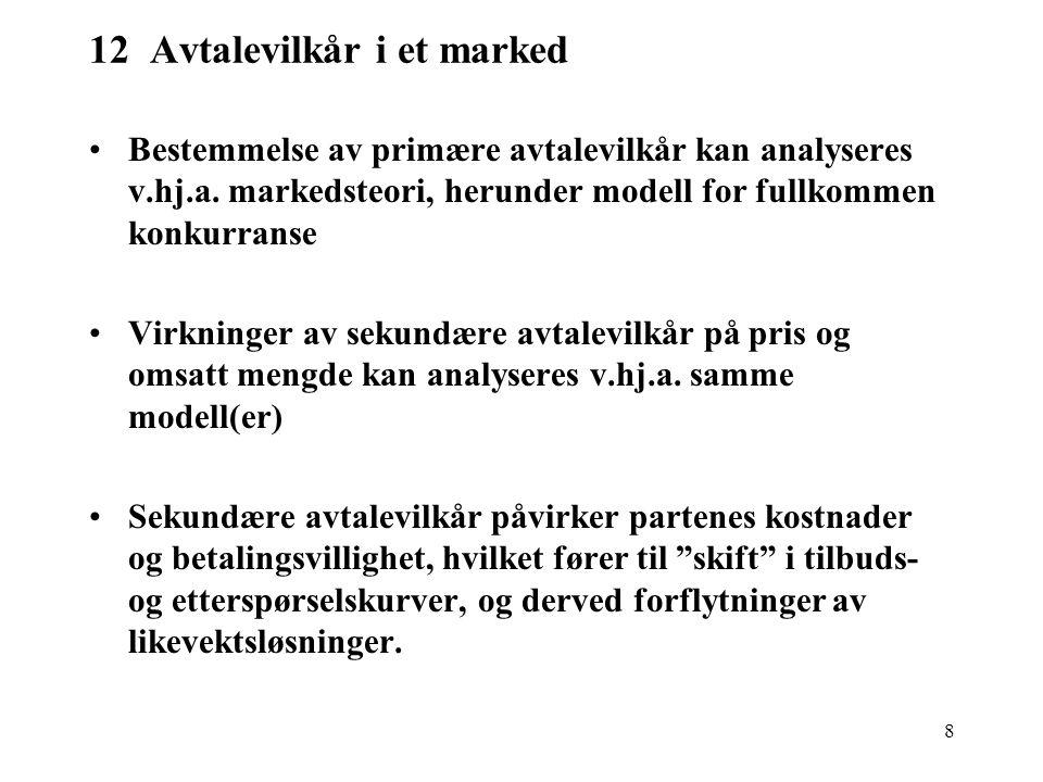 8 12 Avtalevilkår i et marked Bestemmelse av primære avtalevilkår kan analyseres v.hj.a. markedsteori, herunder modell for fullkommen konkurranse Virk